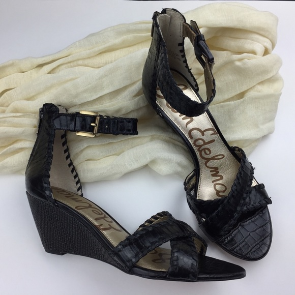 85a61fef811723 Sam Edelman Silvia Black Wedge Sandals Ankle Strap.  M 5aa84bba8af1c506fe5ef052